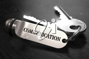 Communication Concept. Keys with Keyring on Black Wooden Table. Closeup View, Selective Focus, 3D Render. Black and White Image.