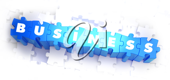 Business - White Word on Blue Puzzles on White Background. 3D Illustration.