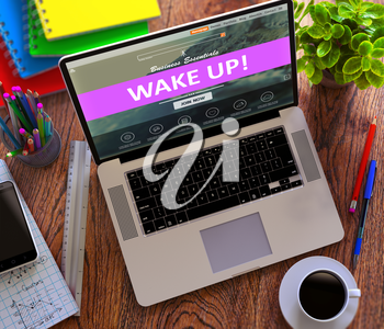 Wake Up on Laptop Screen. Online Working Concept.