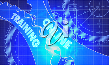 Online Training on Blueprint of Cogs. Technical Drawing Style. 3d illustration with Glow Effect.
