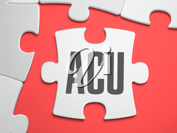 ACU - Average Concurrent Use - Text on Puzzle on the Place of Missing Pieces. Scarlett Background. Close-up. 3d Illustration.