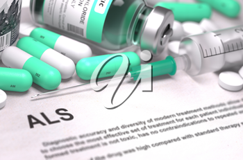 ALS - Printed Diagnosis with Mint Green Pills, Injections and Syringe. Medical Concept with Selective Focus.