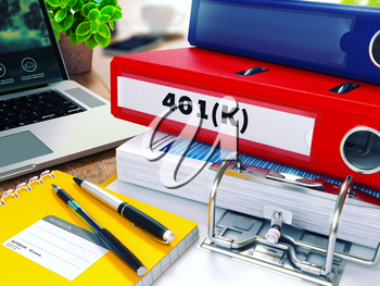 401K - Red Ring Binder on Office Desktop with Office Supplies and Modern Laptop. Business Concept on Blurred Background. Toned Illustration.