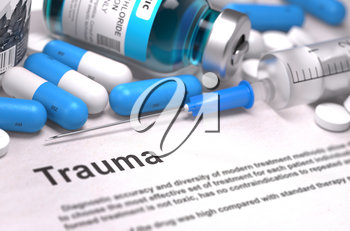 Trauma - Medical Concept with Blue Pills, Injections and Syringe. Selective Focus. Blurred Background.