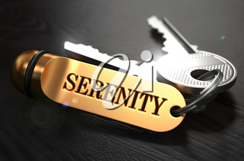 Keys with Word Serenity on Golden Label over Black Wooden Background. Closeup View, Selective Focus, 3D Render.
