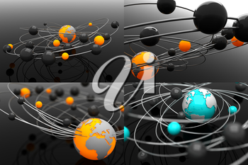 Model Atom with Globe- Set of 3D. Space Background.