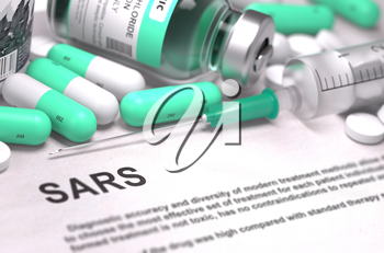 Diagnosis - SARS - Severe Acute Respiratory Syndrome. Medical Concept with Light Green Pills, Injections and Syringe. Selective Focus. Blurred Background.