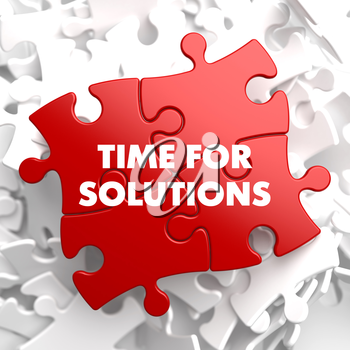 Time For Solutions on Red Puzzle on White Background.