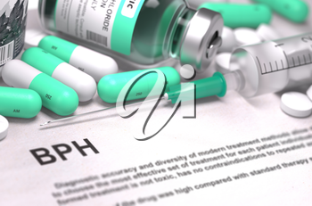 BPH - Benign Prostatic Hyperplasia - Printed Diagnosis with Mint Green Pills, Injections and Syringe. Medical Concept with Selective Focus.