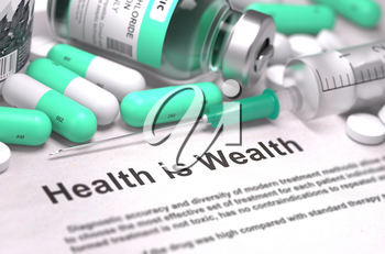Health is Wealth. Medical Report with Composition of Medicaments - Light Green Pills, Injections and Syringe. Blurred Background with Selective Focus.