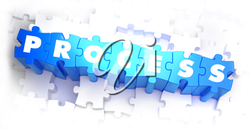Process - Text on Blue Puzzles on White Background. 3D Render.
