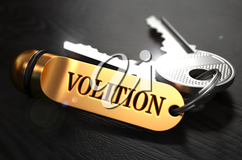 Volition Concept. Keys with Golden Keyring on Black Wooden Table. Closeup View, Selective Focus, 3D Render.