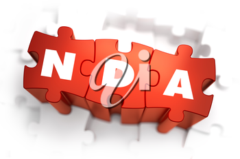 NDA - Non Disclosure Agreement - White Word on Red Puzzles on White Background. 3D Render.