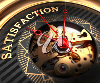 Satisfaction on Black-Golden Watch Face with Closeup View of Watch Mechanism.