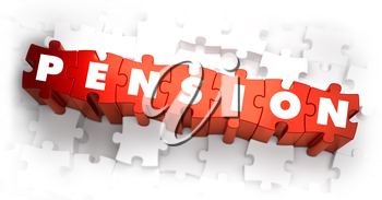 Pension - White Word on Red Puzzles on White Background. 3D Render.