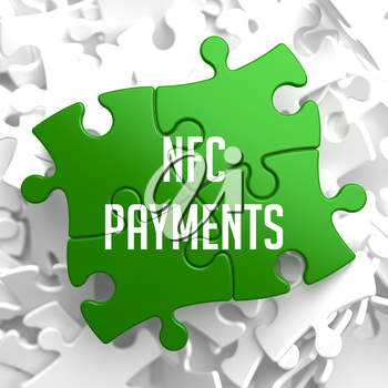 NFC Payments on Green Puzzle on White Background.