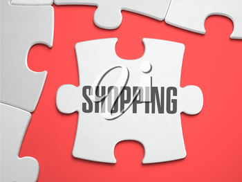 Shopping - Text on Puzzle on the Place of Missing Pieces. Scarlett Background. Close-up. 3d Illustration.