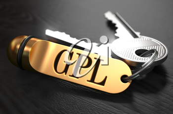 GPL - General Public License - Bunch of Keys with Text on Golden Keychain. Black Wooden Background. Closeup View with Selective Focus. 3D Illustration.