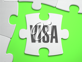 Visa - Jigsaw Puzzle with Missing Pieces. Bright Green Background. Close-up. 3d Illustration.
