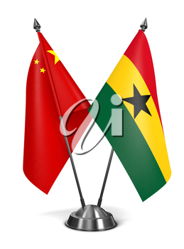 China and Ghana - Miniature Flags Isolated on White Background.