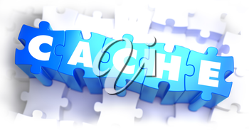 Cache - White Word on Blue Puzzles on White Background. 3D Illustration.