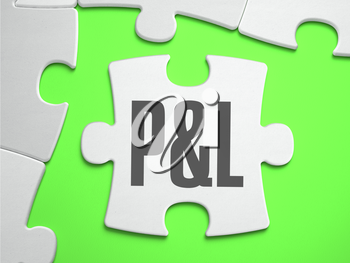 P and L - Profit and Loss - Jigsaw Puzzle with Missing Pieces. Bright Green Background. Close-up. 3d Illustration.