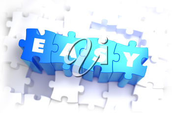 Easy - White Word on Blue Puzzles on White Background. 3D Illustration.