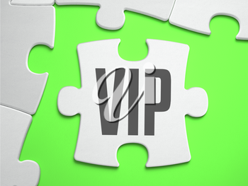 VIP - Very Important Person - Jigsaw Puzzle with Missing Pieces. Bright Green Background. Close-up. 3d Illustration.