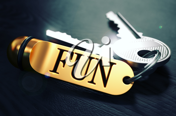 Keys and Golden Keyring with the Word Fun over Black Wooden Table with Blur Effect. Toned Image.
