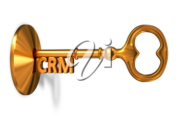 CRM - Customer Relationship Management - Golden Key is Inserted into the Keyhole Isolated on White Background