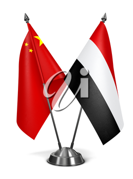 China and Yemen - Miniature Flags Isolated on White Background.