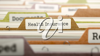 Health Insurance - Folder Register Name in Directory. Colored, Blurred Image. Closeup View.
