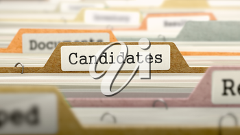 Candidates on Business Folder in Multicolor Card Index. Closeup View. Blurred Image.