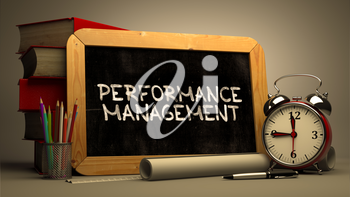 Hand Drawn Performance Management Concept  on Chalkboard. Blurred Background. Toned Image.