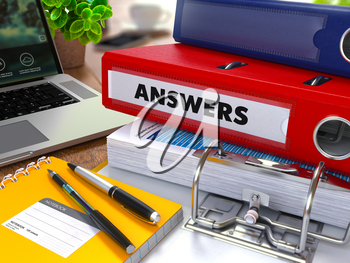 Red Ring Binder with Inscription Answers on Background of Working Table with Office Supplies, Laptop, Reports. Toned Illustration. Business Concept on Blurred Background.
