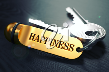 Keys to HAPPINESS - Concept on Golden Keychain over Black Wooden Background. Closeup View, Selective Focus, 3D Render. Toned Image.