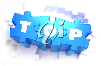 Top - White Word on Blue Puzzles on White Background. 3D Illustration.