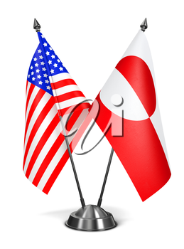 USA and Greenland - Miniature Flags Isolated on White Background.