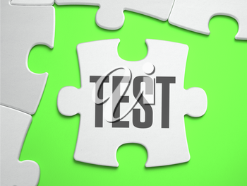 Test - Jigsaw Puzzle with Missing Pieces. Bright Green Background. Close-up. 3d Illustration.