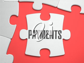 Payments - Text on Puzzle on the Place of Missing Pieces. Scarlett Background. Close-up. 3d Illustration.