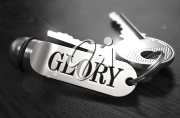 Glory Concept. Keys with Keyring on Black Wooden Table. Closeup View, Selective Focus, 3D Render. Black and White Image.