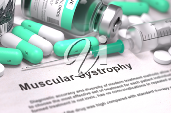 Muscular Dystrophy - Printed Diagnosis with Mint Green Pills, Injections and Syringe. Medical Concept with Selective Focus.