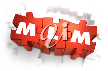 MLM - White Word on Red Puzzles on White Background. 3D Render.