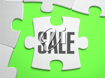 Sale - Jigsaw Puzzle with Missing Pieces. Bright Green Background. Close-up. 3d Illustration.