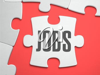 Jobs - Text on Puzzle on the Place of Missing Pieces. Scarlett Background. Close-up. 3d Illustration.