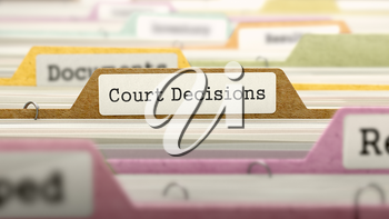 Court Decisions - Folder Register Name in Directory. Colored, Blurred Image. Closeup View.