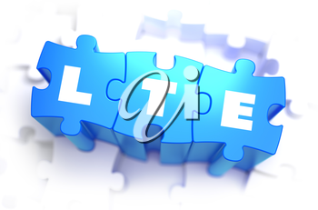 LTE - Long Term Evolution - Text on Blue Puzzles on White Background. 3D Render.