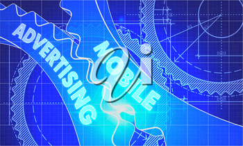Mobile Advertising on the Mechanism of Cogwheels. Blueprint Style. Technical Design. 3d illustration with Lens Flare.