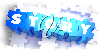 Story - White Word on Blue Puzzles on White Background. 3D Render.