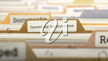 Operating Instructions Concept. Colored Document Folders Sorted for Catalog. Closeup View. Selective Focus.